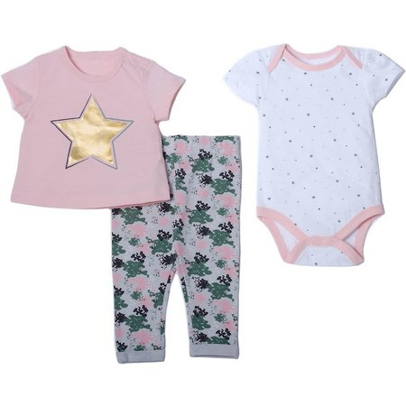 Chick Pea Baby Girls 3-pc. Star Layette Set