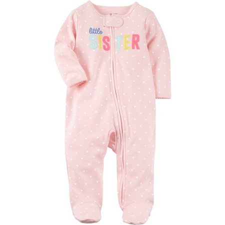 Carters Baby Girls Little Sister Heart Sleep &
