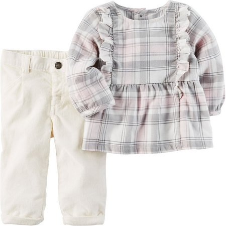 Carters Baby Girls Plaid Corduroy Pants Set
