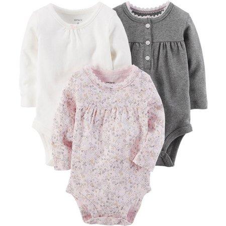 Carters Baby Girls 3-pk. Long Sleeve Bodysuits