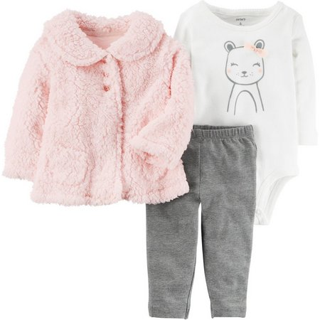 Carters Baby Girls 3-pc. Mouse Sherpa Cardigan Set