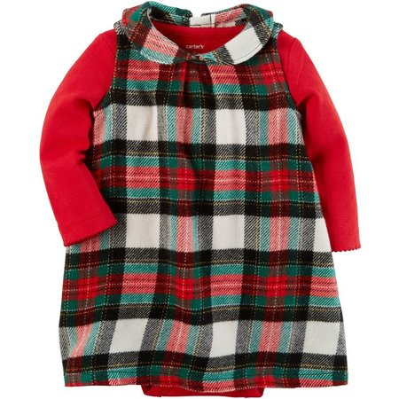 Carters Baby Girls Plaid Bodysuit Dress Set