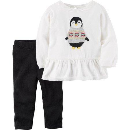 Carters Baby Girls Peplum Penguin Pants Set