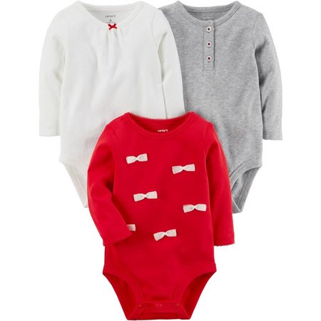 Carters Baby Girls 3-pk. Holiday Bodysuits