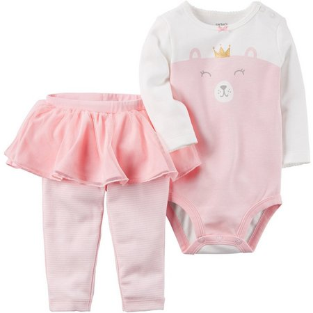 Carters Baby Girls Princess Bear Bodysuit Set
