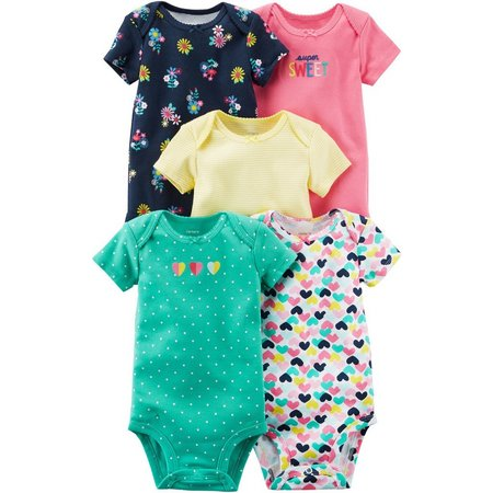 Carters Baby Girls 5-pk. Super Sweet Bodysuits
