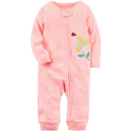 Carters Baby Girls Polka Dot Floral Jumpsuit