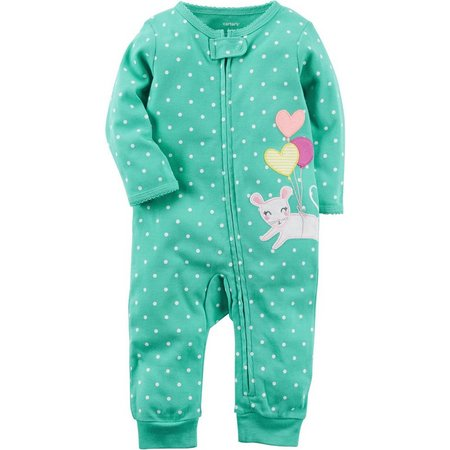 Carters Baby Girls Polka Dot Mouse Jumpsuit