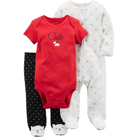Carters Baby Girls 3-pc. Cute Dog Layette Set
