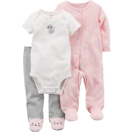 Carters Baby Girls 3-pc. Cat Layette Set