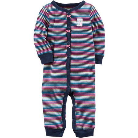 Carters Baby Girls Adorable Stripe Jumpsuit