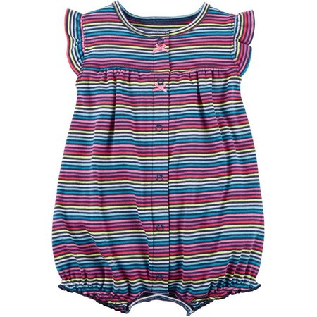 Carters Baby Girls Rainbow Stripe Romper
