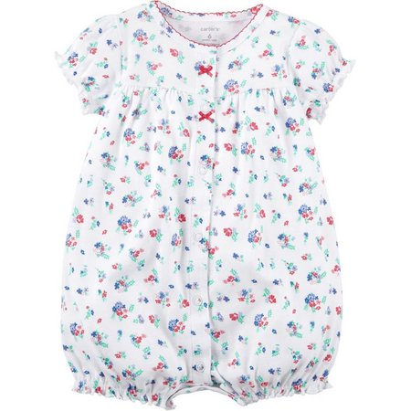 Carters Baby Girls Floral Snap-Up Romper