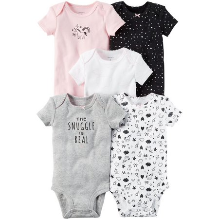 Carters Baby Girls 5-pk. Snuggle Bodysuits