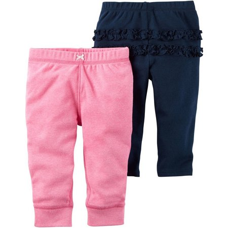 Carters Baby Girls 2-pk. Baby Pink Pull-On Pants