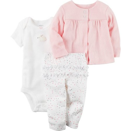 Carters Baby Girls 3-pc. Baby Pink Layette Set