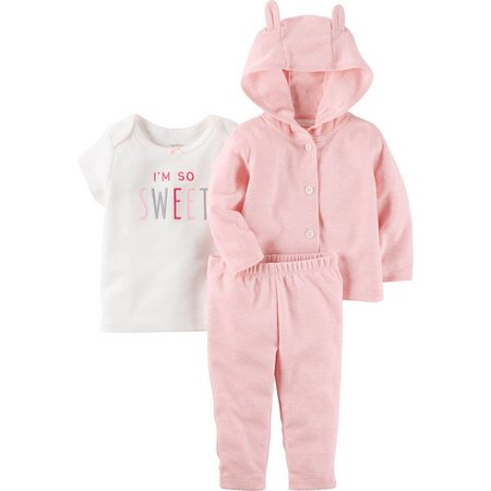 Carters Baby Girls 3-pc. Baby Pink Ear Layette
