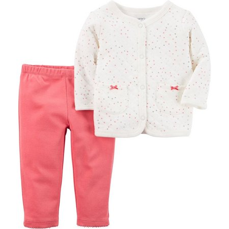 Carters Baby Girls Baby Pink Heart Pants Set