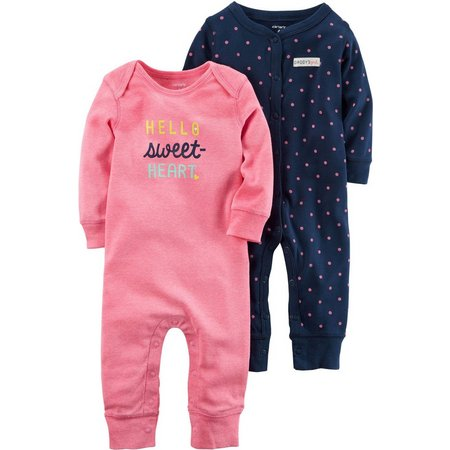 Carters Baby Girs 2-pk. Sweet Heart Jumpsuits