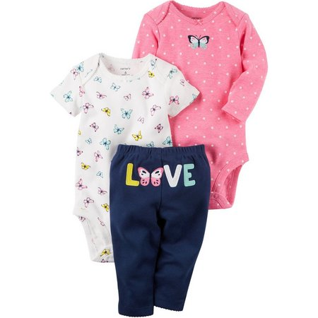 Carters Baby Girls 3-pc. Butterflies Layette Set