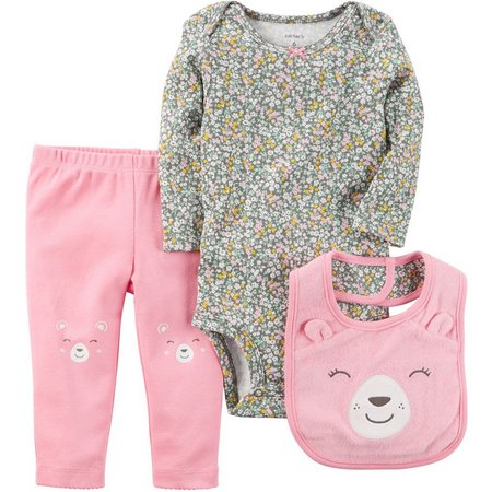 Carters Baby Girls 3-pc. Floral Bear Layette Set