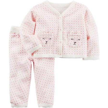 Carters Baby Girls Bear Sweater Set