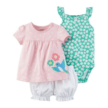 Carters Baby Girls 3-pc. Polka Dot Bird Layette