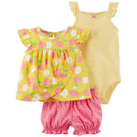 Carters Baby Girls 3-pc. Floral Dot Layette Set