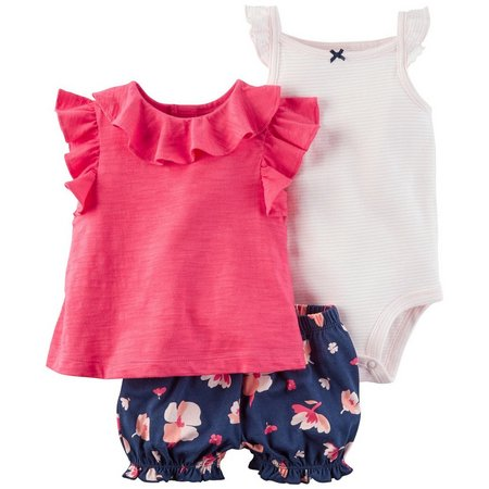 Carters Baby Girls 3-pc. Floral Flutter Sleeve Layette