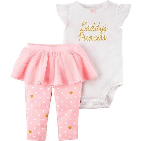 Carters Baby Girls Daddy's Princess Bodysuit Set