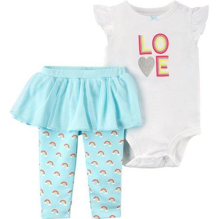 Carters Baby Girls Rainbow Bodysuit Set