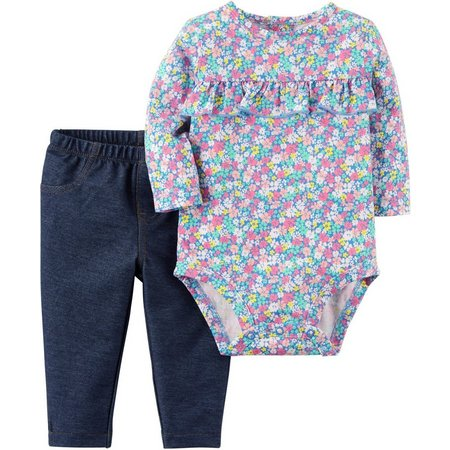 Carters Baby Girls Floral Ruffles Bodysuit Set