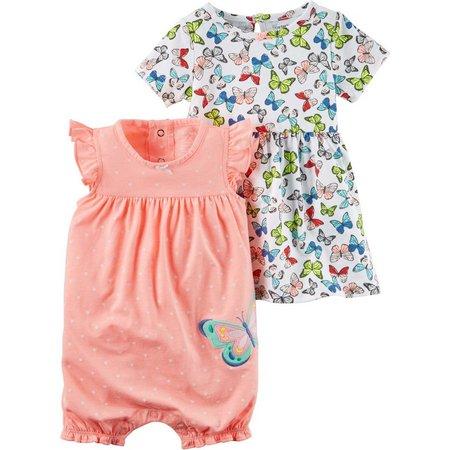 Carters Baby Girls Butterflies Dress & Romper Set