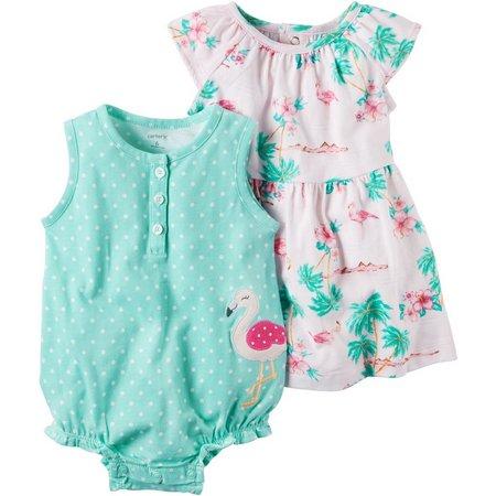 Carters Baby Girls Flamingo Dress & Romper Set