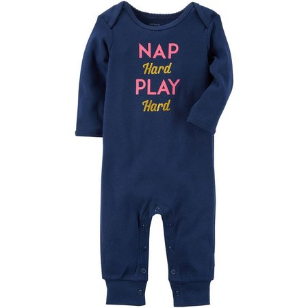 Carters Baby Girls Nap Hard Play Hard Jumpsuit
