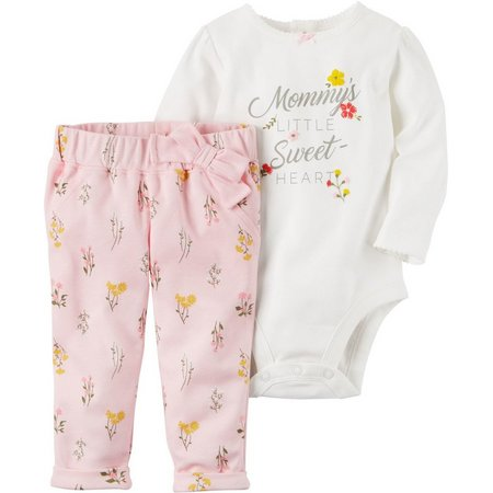 Carters Baby Girls Little Sweet Heart Bodysuit Set