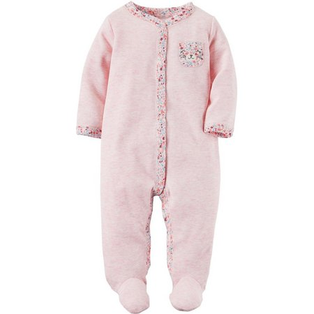 Carters Baby Girls Floral Bear Pocket Sleep &