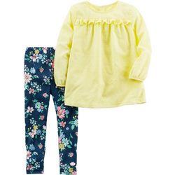 Carters Baby Girls Dobby Floral Leggings Set