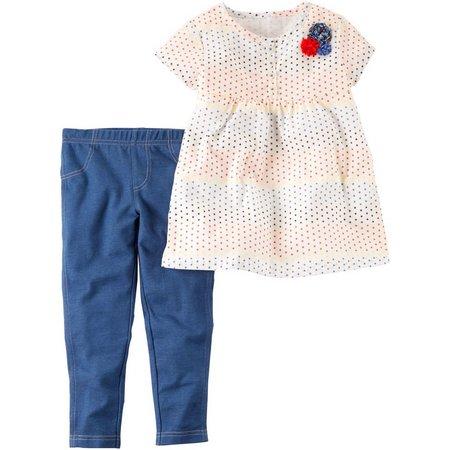 Carters Baby Girls Dot Babydoll Top Leggings Set