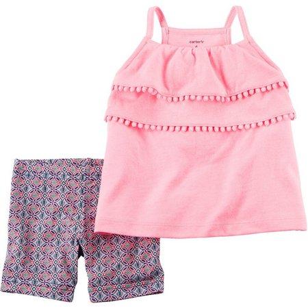 Carters Baby Girls Pom Pom Shorts Set