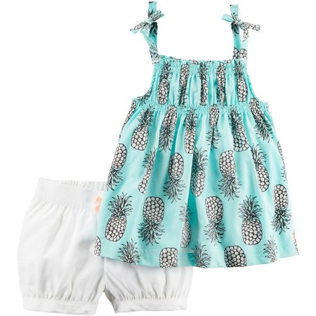 Carters Baby Girls Pineapple Shorts Set