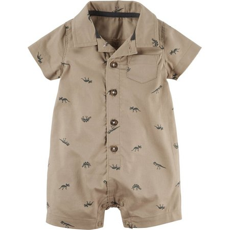 Carters Baby Boys Khaki Dinosaur Romper