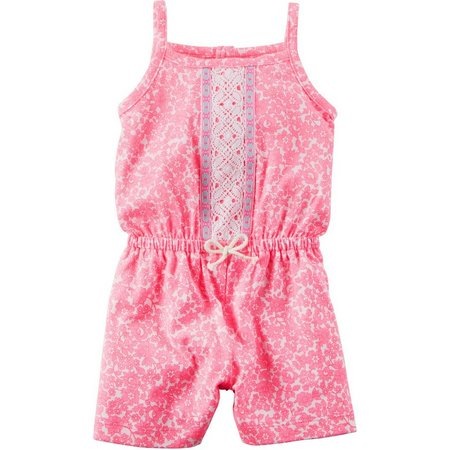 Carters Baby Girls Embroidered Floral Romper