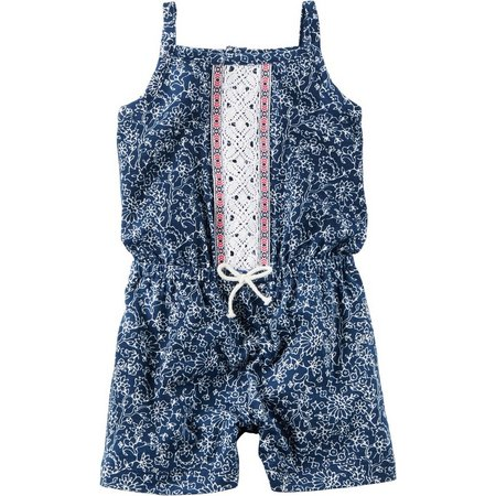 Carters Baby Girls Embroidered Flowered Romper