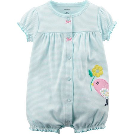 Carters Baby Girls Stripe Birdy Romper