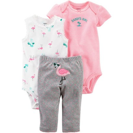 Carters Baby Girls 3-pc. Daddy's Girl Flamingo Layette