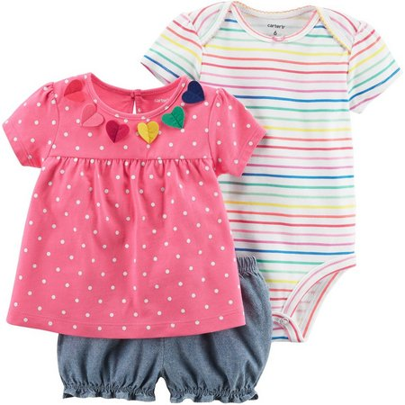 Carters Baby Girls 3-pc. Polka Dot Stripe Layette