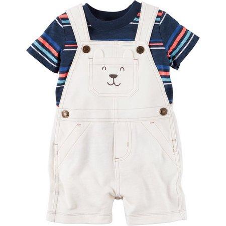 Carters Baby Boys Striped Bear Shortalls Set