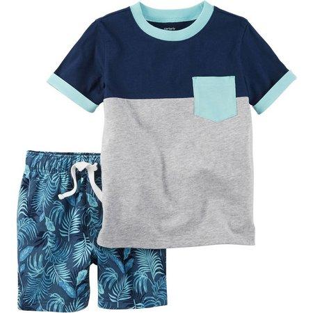 Carters Baby Boys Colorblocked Leaf Shorts Set