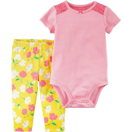 Carters Baby Girls Floral Stripe Bodysuit Set